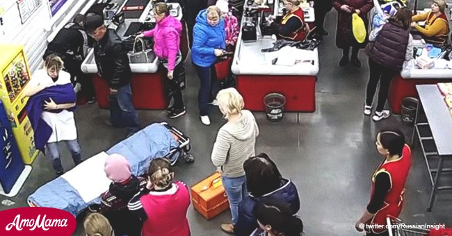 Woman gives birth on supermarket floor while customers carry on as if nothing is happening