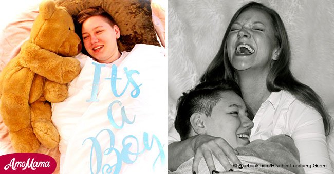 Mom jubilantly celebrates son coming out as transgender with an epic gender reveal photoshoot