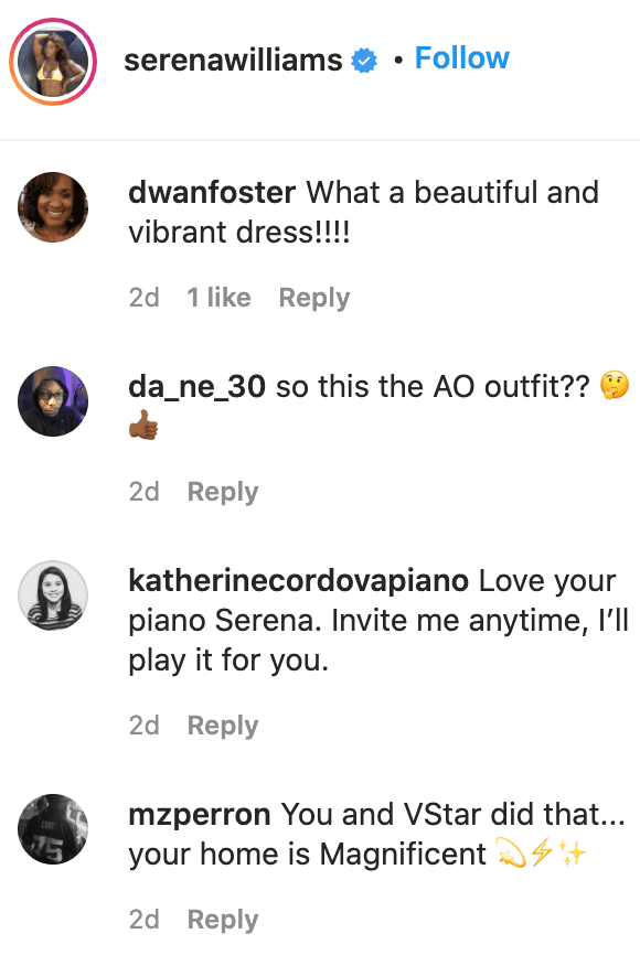 Fans' comments on Serena Williams' post. | Source: Instagram/serenawilliams