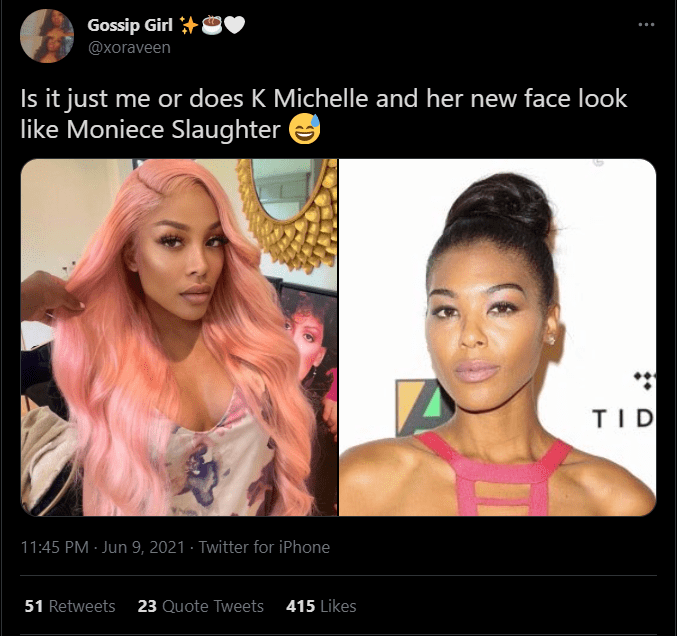 A fan's comment on K Michelle's pink hair debut. | Photo: Twitter/xoraveen