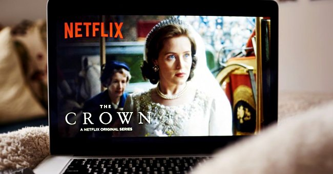 """An image of """"The Crown"""" playing on a laptop. 