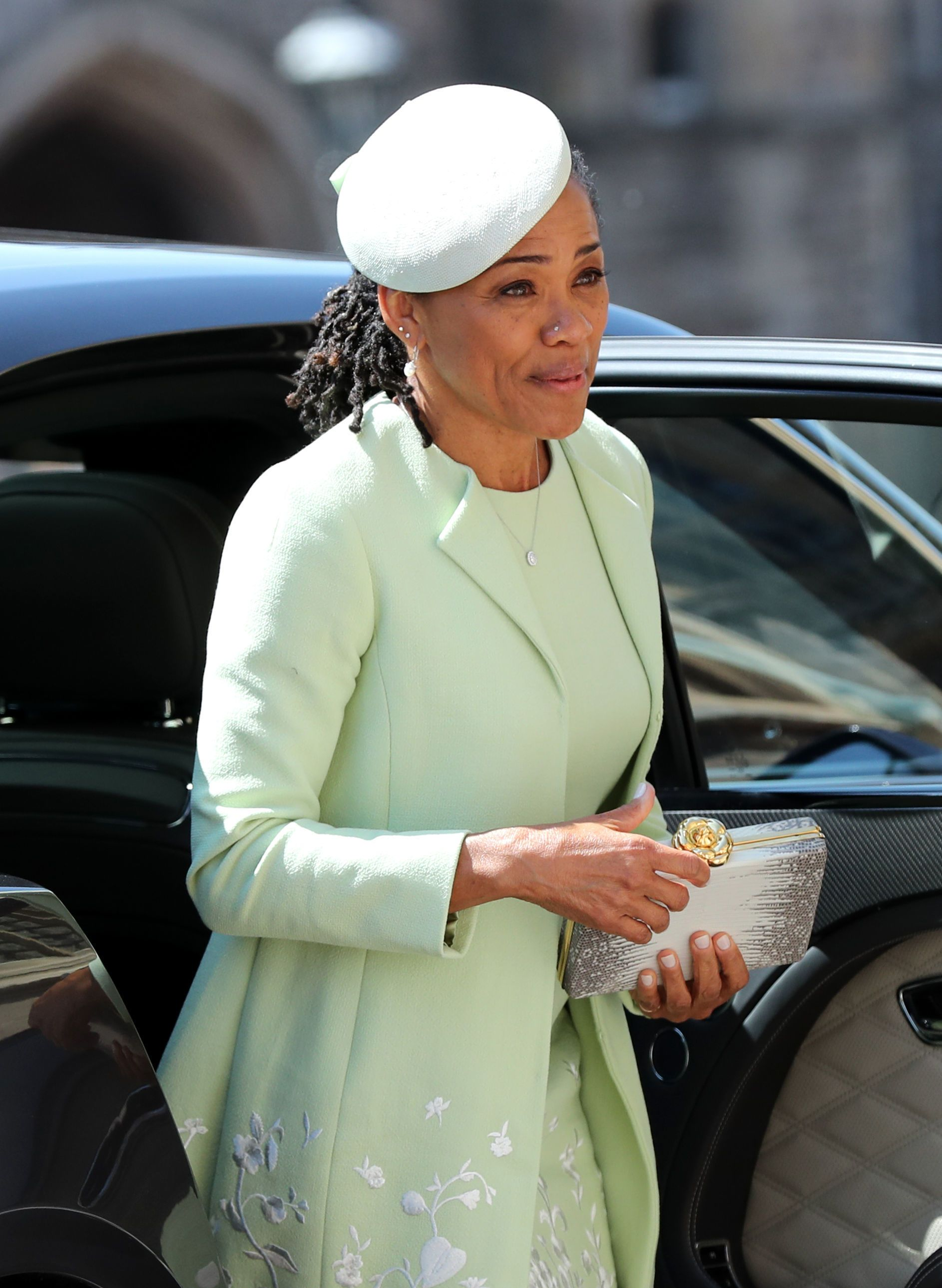 Doria Ragland arrives at St George's Chapel at Windsor Castle before the wedding of Prince Harry to Meghan Markle on May 19, 2018 | Getty Images