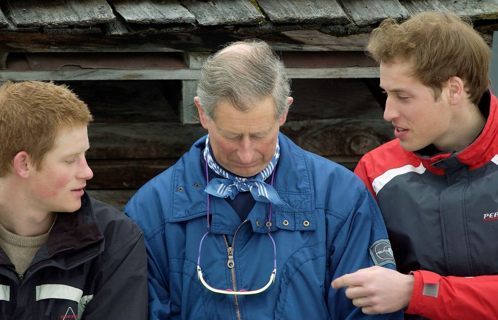 Prince Charles, Prince William and Prince Harry during the Royal Family's ski break at Klosters | Photo: Getty Images