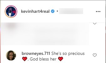 A fan's comment on Kevin Hart's post about his daughter | Photo: Instagram/kevinhart4real