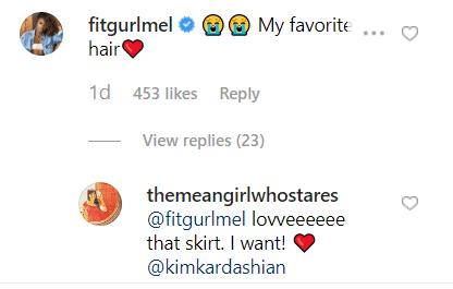 Instagram influencer Melissa Alcantara's comment on Kim Kardashian's post. | Source: Instagram/kimkardashian
