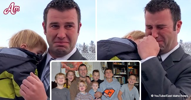 Ein Witwer mit sieben Kindern weinte, nachdem ein Unbekannter ihm ein Weihnachtsgeschenk gegeben hatte
