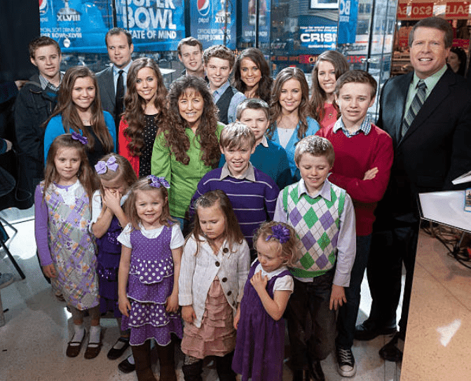 "The Duggar family gather for an interview ""Extra"" at H&M in Times Square, on March 11, 2014 in New York City 