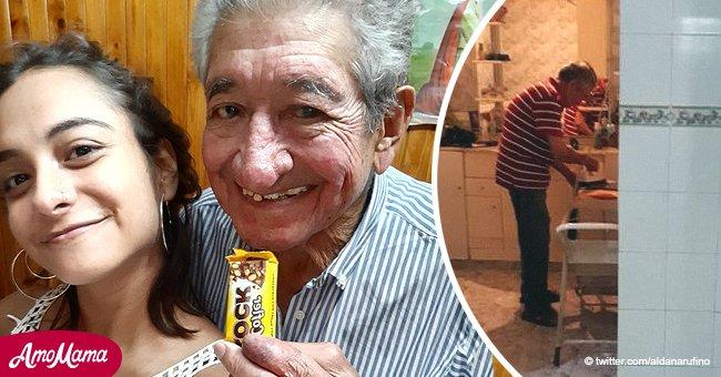 La photo touchante d'un grand-père repassant sa chemise après une invitation de sa petite-fille devient virale