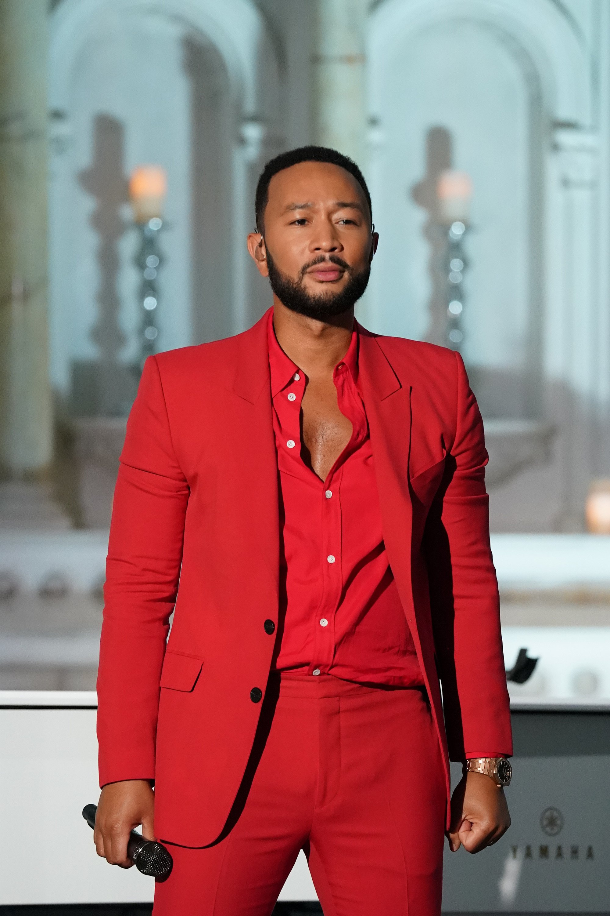 "John Legend performs at Macy's ""Fourth of July Fireworks Spectacular"" on July 4, 2020. 