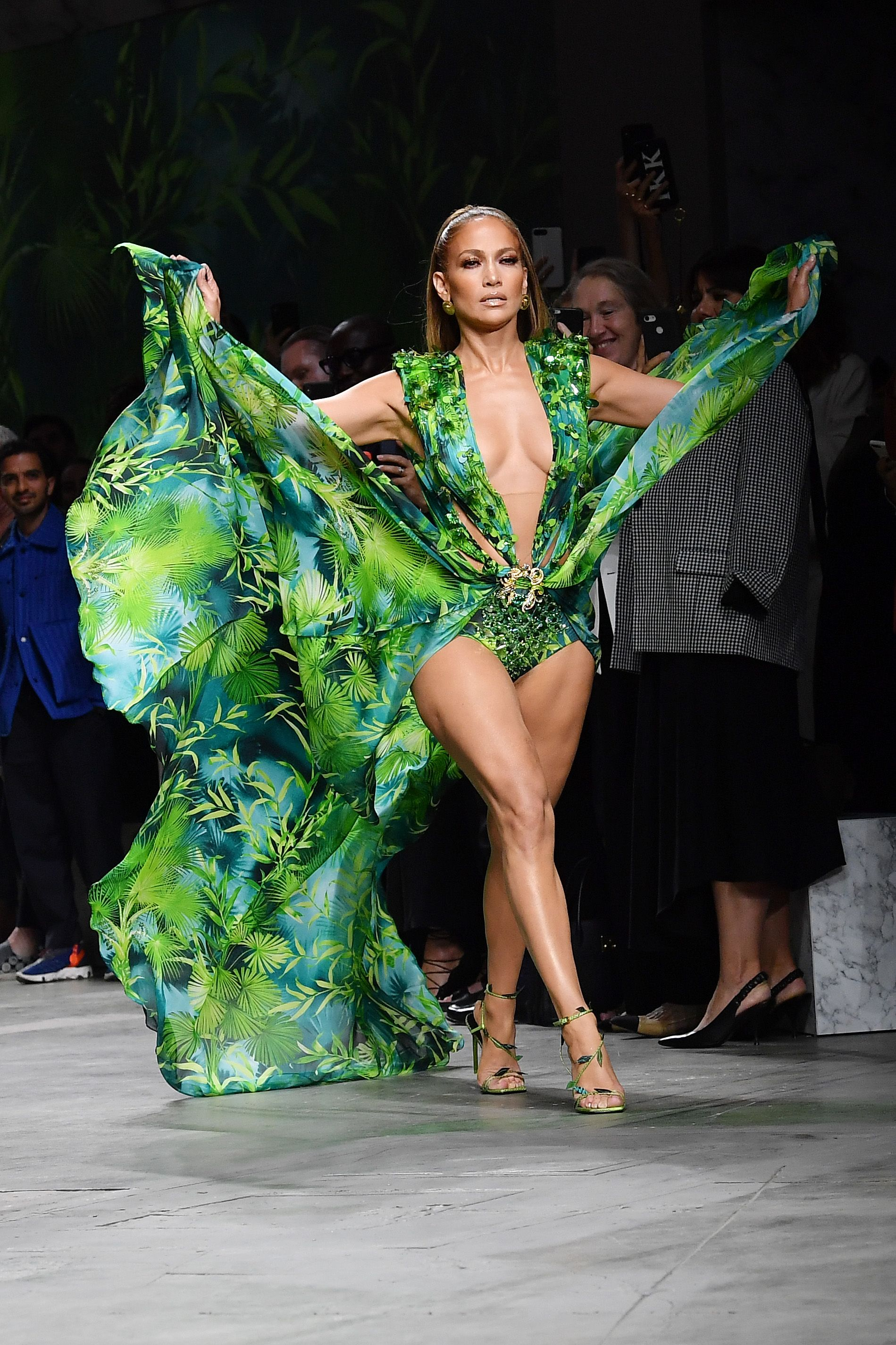 Jennifer Lopez walks the runway during the Milan Fashion Week for the Versace show on September 20, 2019, in Milan, Italy | Source: Jacopo Raule/Getty Images
