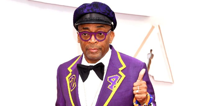 Spike Lee Honors Kobe Bryant by Rocking Purple & Gold Suit with Number 24 on Its Lapels at the 2020 Oscars