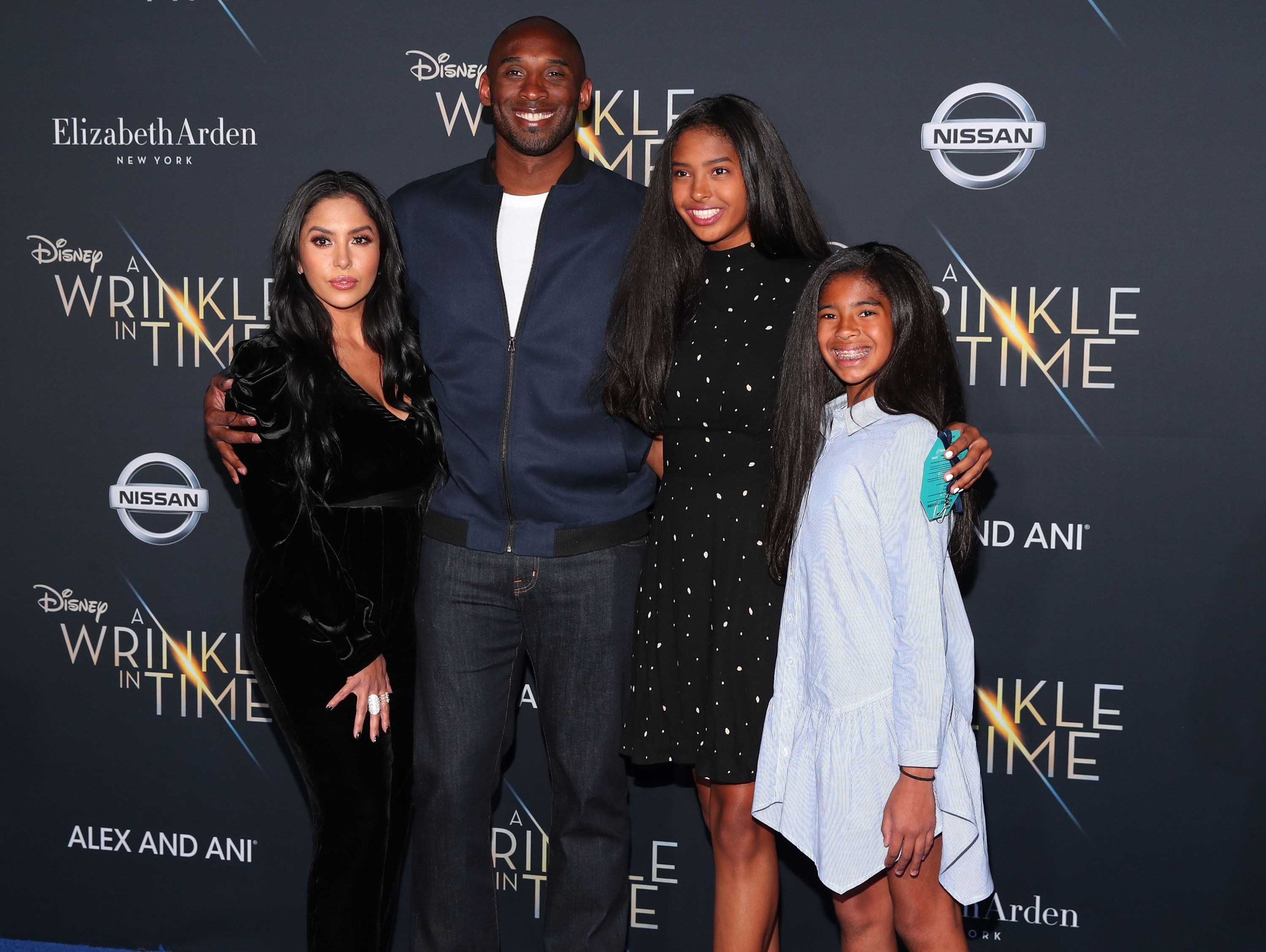"""Vanessa and Kobe Bryant and their two oldest daughters, Natalia and Gianna at the premiere of """"A Wrinkle in Time"""" in February 2018, in Los Angeles, California 