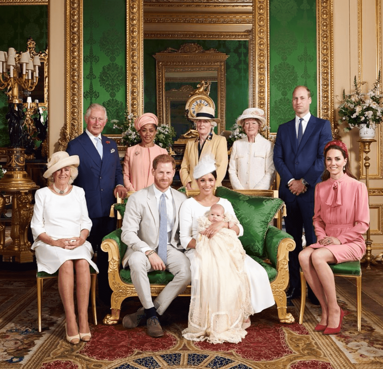 From left to right: The Duchess of Cornwall, The Prince of Wales, Ms Doria Ragland, Lady Jane Fellowes, Lady Sarah McCorquodale, The Duke of Cambridge and The Duchess of Cambridge. The Duke and Duchess of Sussex are the the centre with Archie. | Source: Instagram/SusseRoyal