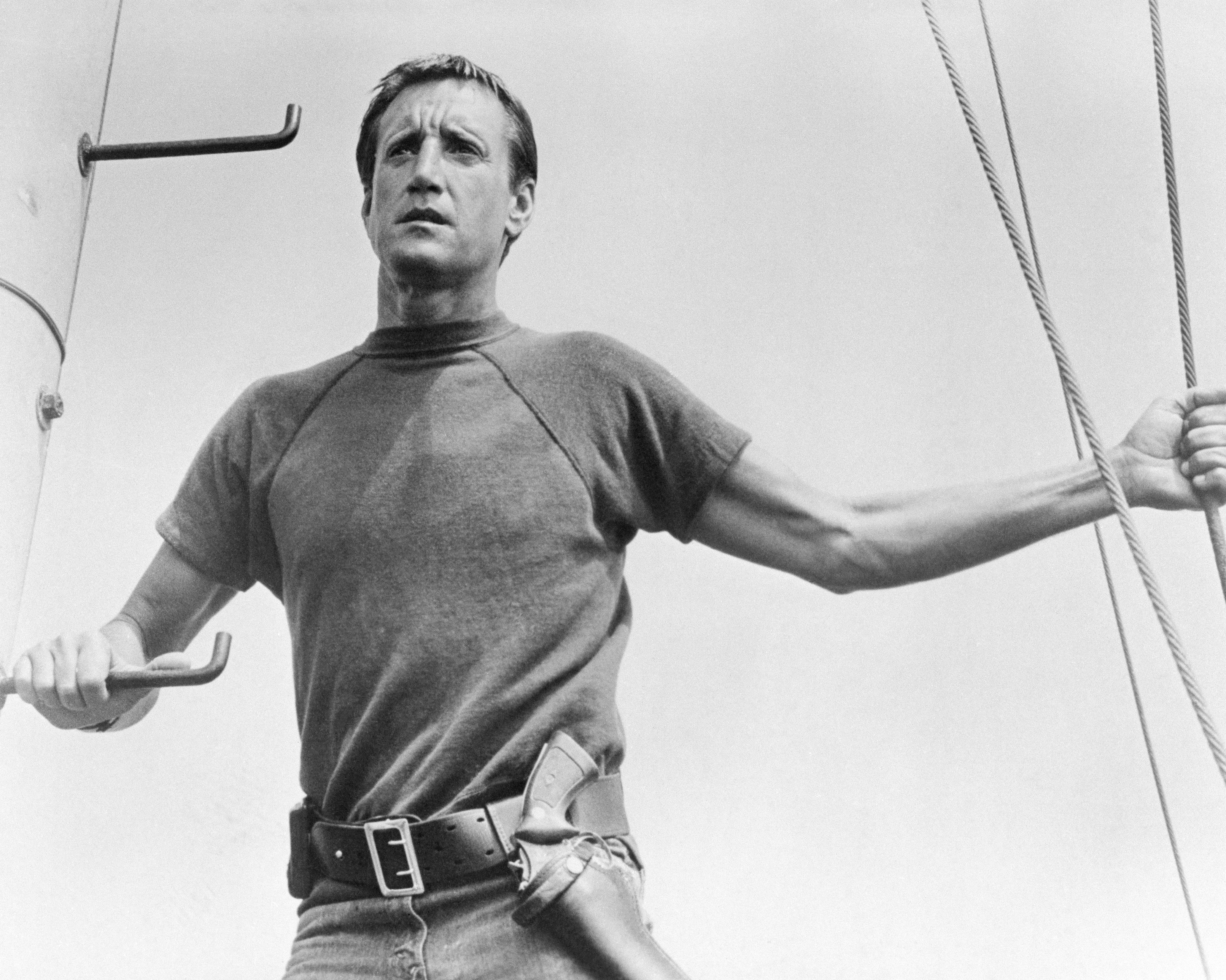 """Roy Scheider stars as the police chief of a small resort community who must hunt down and kill a marauding, man-eating Great White Shark in """"Jaws,""""   Photo: Getty Images"""