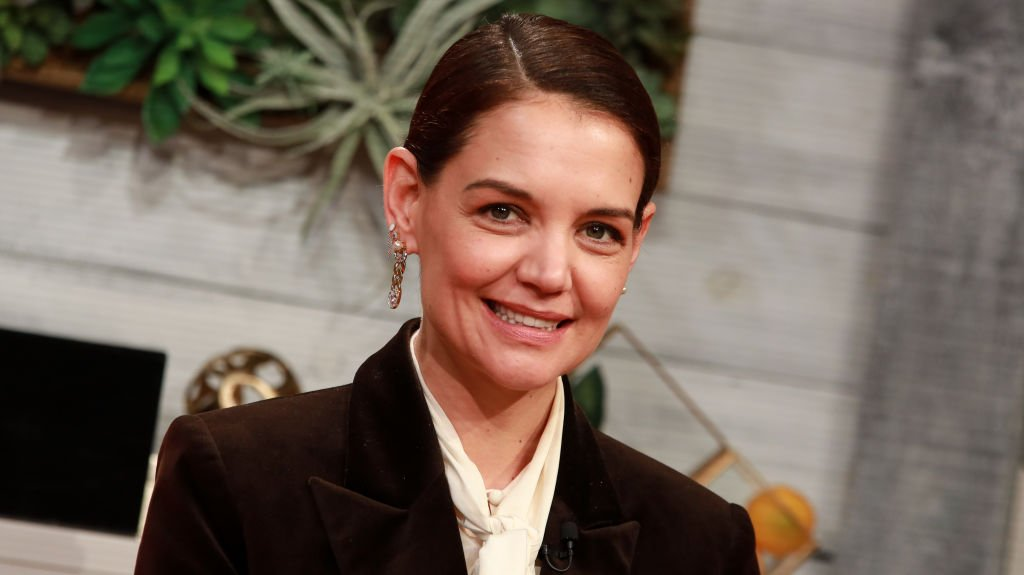 """Katie Holmes visits BuzzFeed's """"AM To DM"""" on February 10, 2020. 