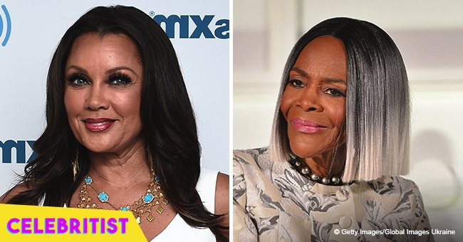 Cicely Tyson stuns in mottled jacket posing for a photo with Vanessa Williams