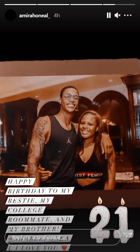 Amirah O'Neal and her brother, Shareef O'Neal, hugging   Photo: Instagram/amirahoneal