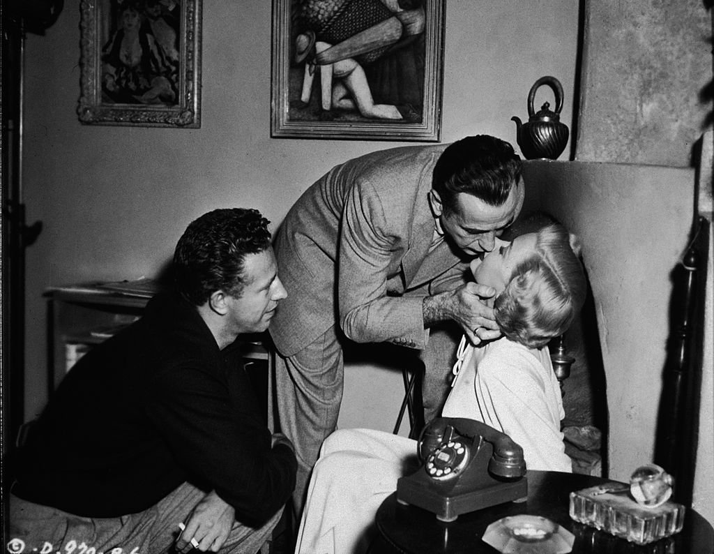"Nicholas Ray directing Gloria Grahame and Humphrey Bogart in 1950's ""A Lonely Place."" 