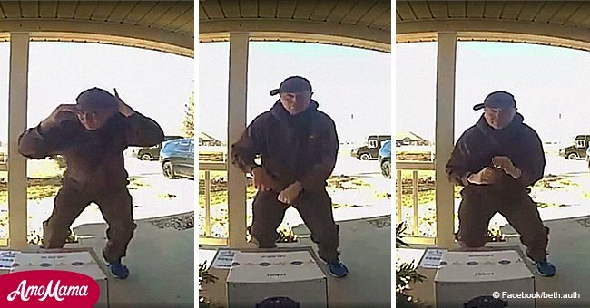 UPS driver's funky dance caught on surveillance camera
