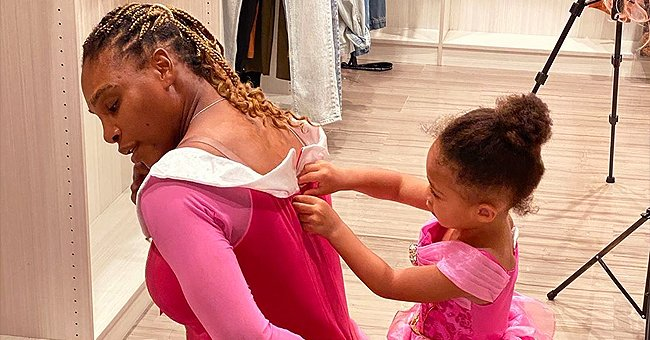Serena Williams and Her Daughter Olympia Sport Matching Pink Dresses – See the Little Girl Help Her Mom Out