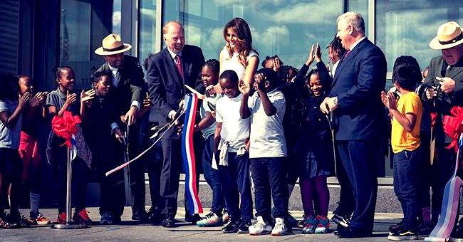 President Trump's Wife Melania Wears Sleeveless Dress & Heels for the Washington Monument Reopening