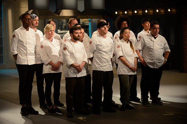 """Aaron Grissom with the other chefs during the Season 12 of """"Top Chef."""" 