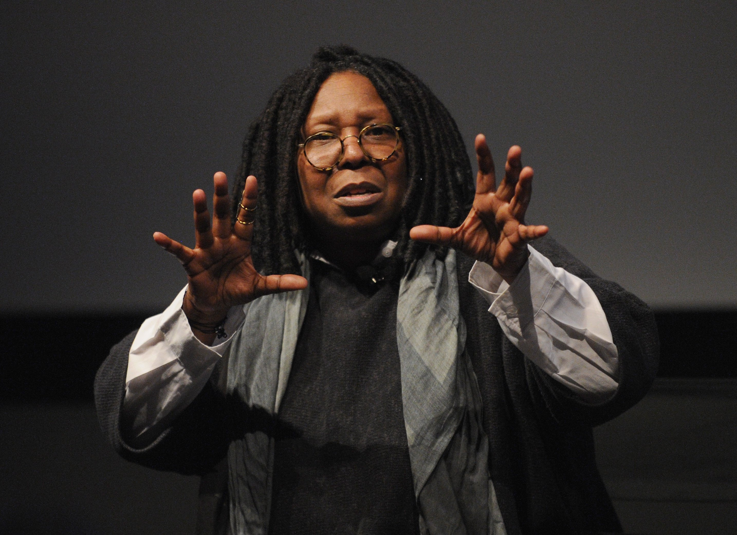 "Whoopi Goldberg speaks during ""I Got Somethin' To Tell You"" screening and Q+A with Director Whoopi Goldberg exclusively for American Express cardmembers at SVA Theatre 1 on April 22, 2013 