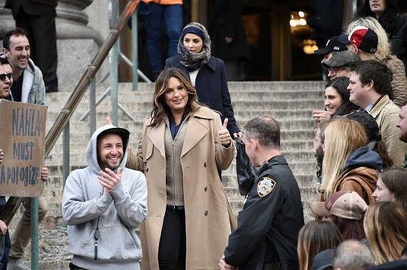 """Mariska Hargitay on the set of """"Law & Order SVU"""" filming at 60 Centre Street on April 15, 2019 in New York City. 