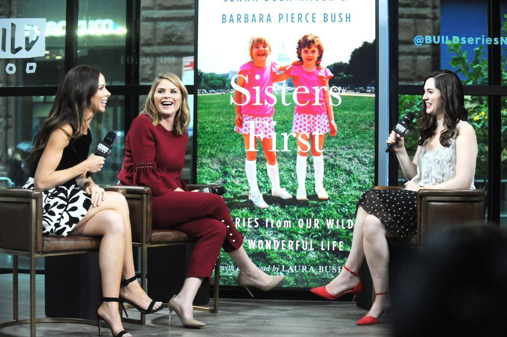 Barbara Pierce Bush and Jenna Bush Hager talk about their book 'Sisters First: Stories from Our Wild and Wonderful Life' in October 2017 in New York City | Source: Getty Images