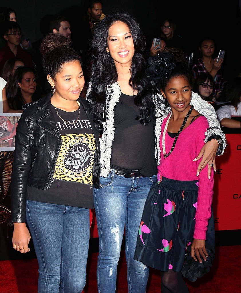 """Kimora Lee Simmons and daughters attend the premiere of Lionsgate's """"The Hunger Games: Catching Fire"""" at Nokia Theatre L.A. Live in Los Angeles, California 