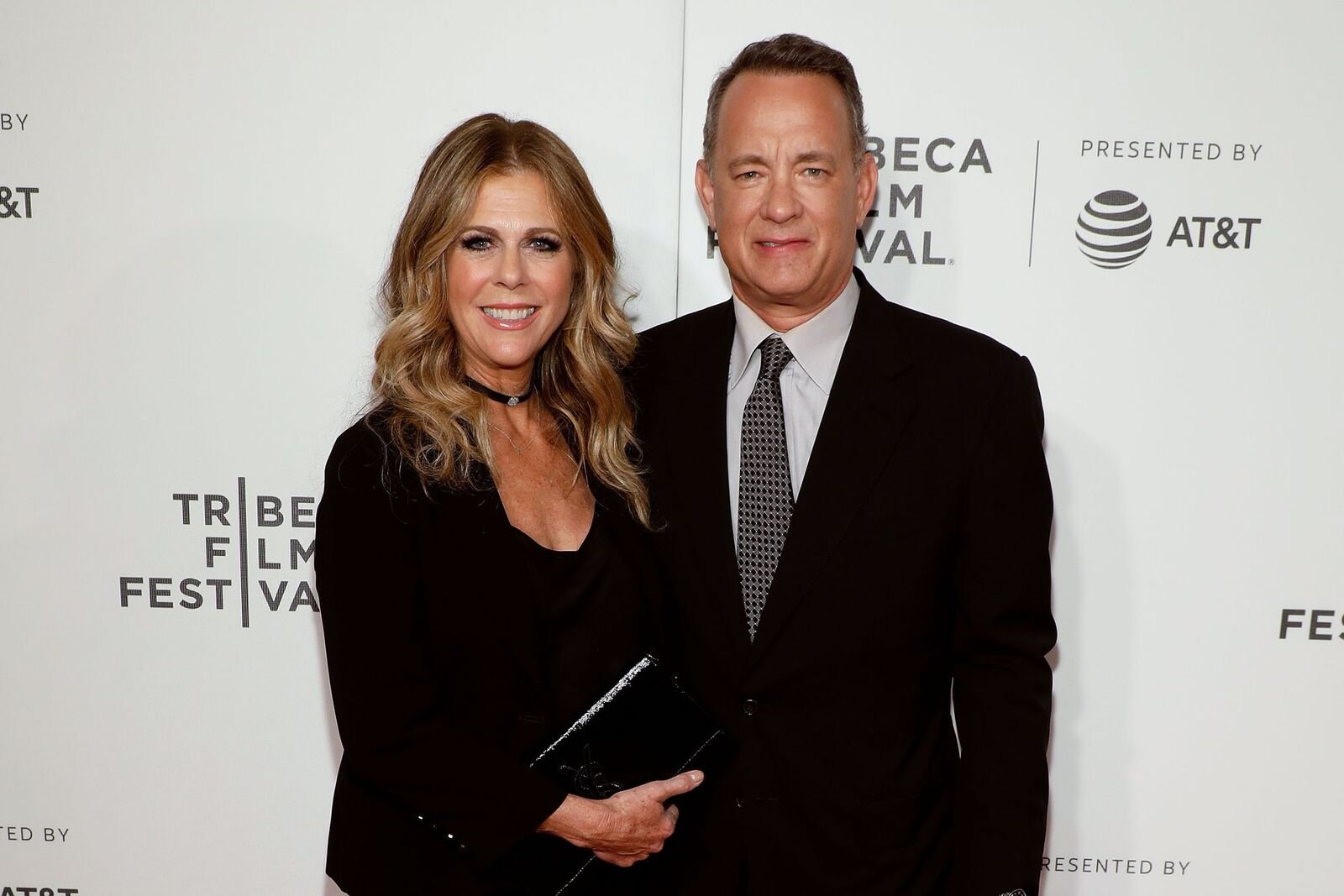 """Rita Wilson and Tom Hanks attend the premiere of """"The Circle"""" during the 2017 Tribeca Film Festival at Borough of Manhattan Community College on April 26, 2017. 