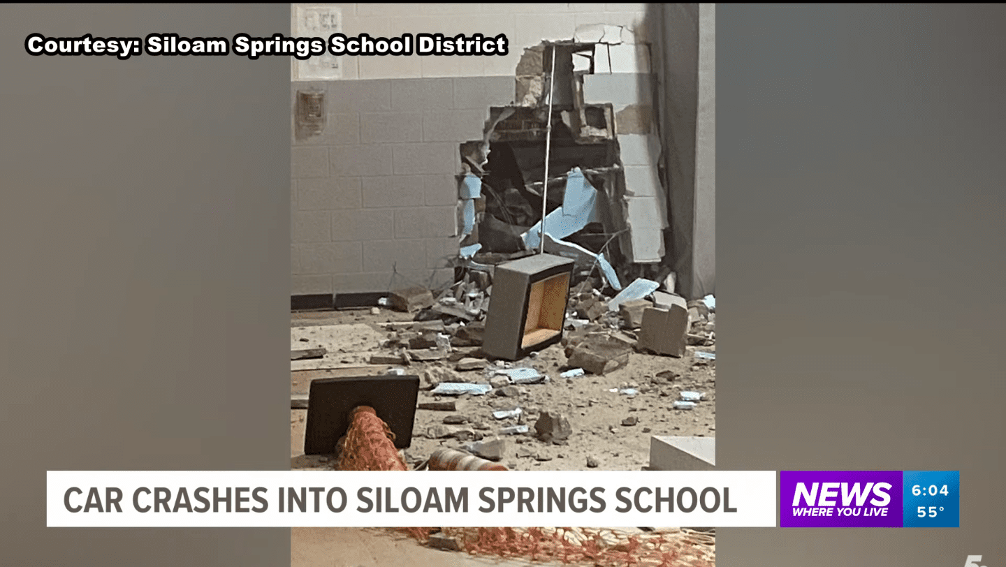 Screenshot of video showing car crashed into the school from March 2, 2021 | Source: YouTube/5News