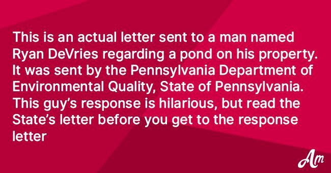 Man gets a letter from the Department of Environmental Quality