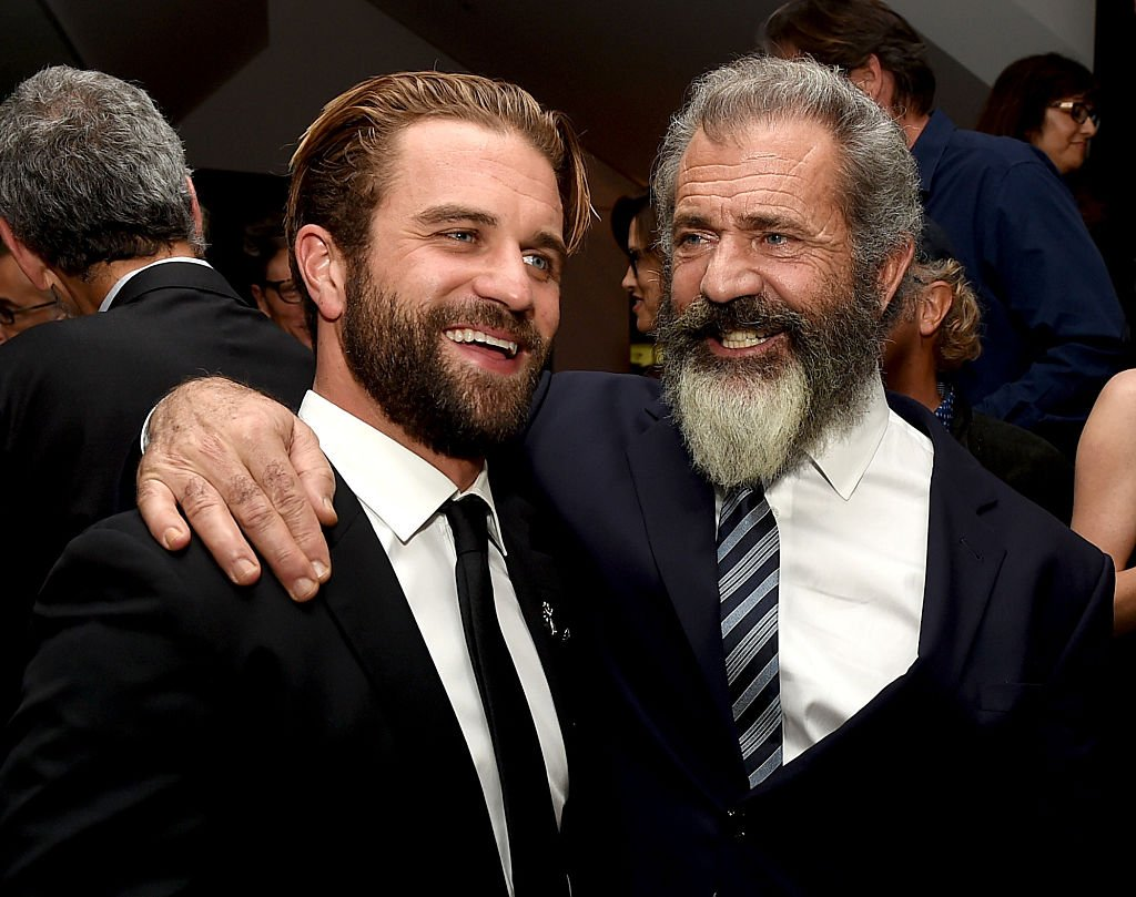 "Mel Gibson (R) and his son actor Milo Gibson pose at the after party for a screening of Summit Entertainment's ""Hacksaw Ridge"" at the Academy of Motion Picture Arts and Sciences on October 24, 2016, in Beverly Hills, California. 