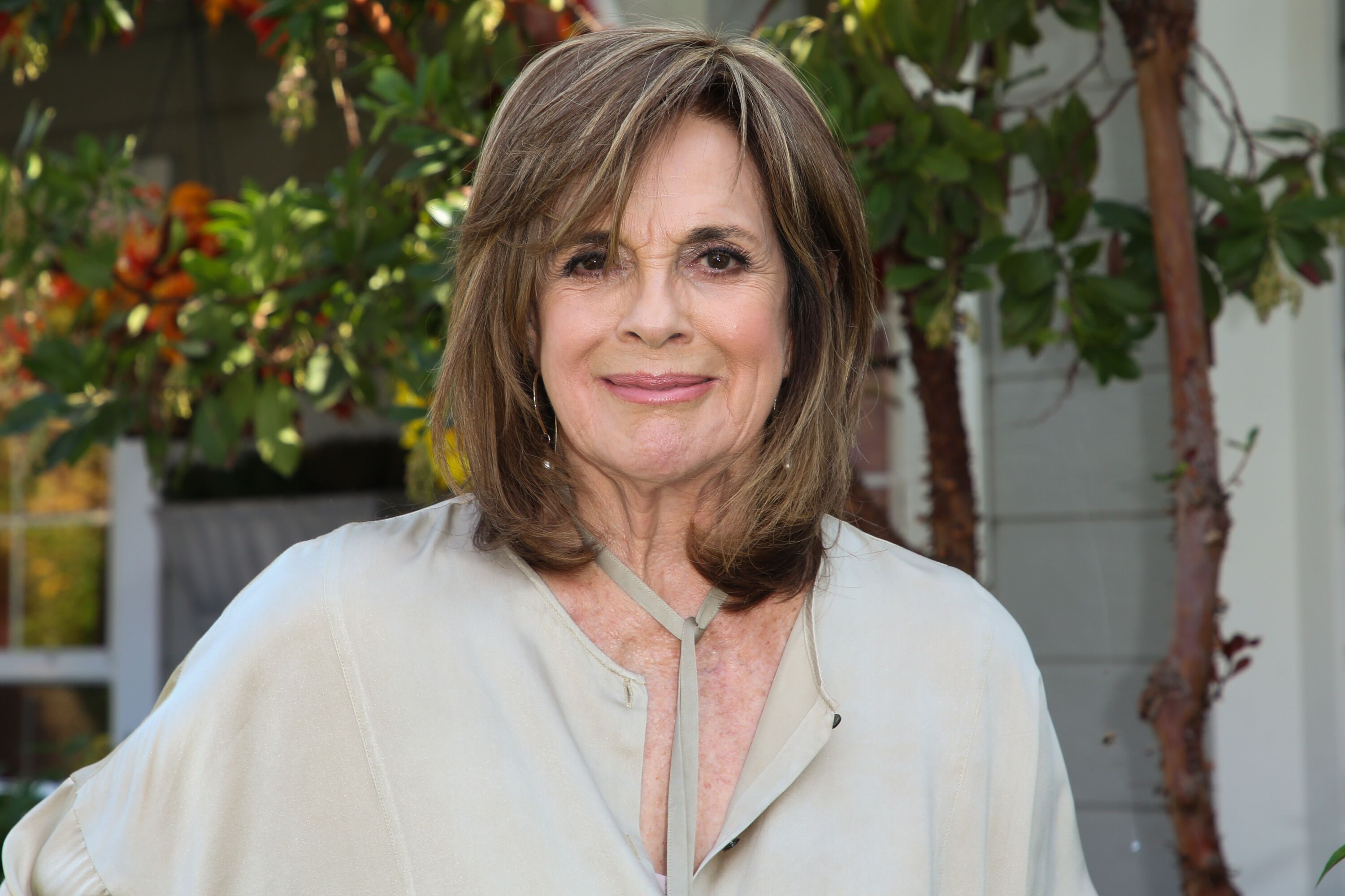 "Actress Linda Gray visits Hallmark's ""Home & Family"" at Universal Studios Hollywood on October 22, 2018 in Universal City, California 