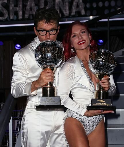 """Bobby Bones and Sharna Burgess at """"Dancing with the Stars"""" Season 27 Finale on November 19, 2018. 