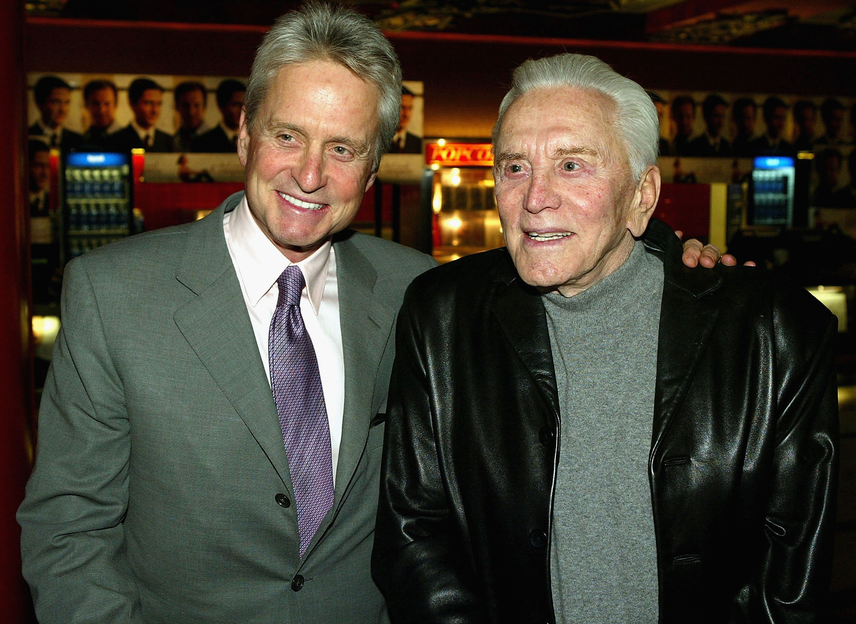 Actors Michael Douglas and Kirk Douglas attend the hand and footprints ceremony honoring Valenti at the Grauman's Chinese Theater December 6, 2004, in Hollywood, California. | Source: Getty Images.
