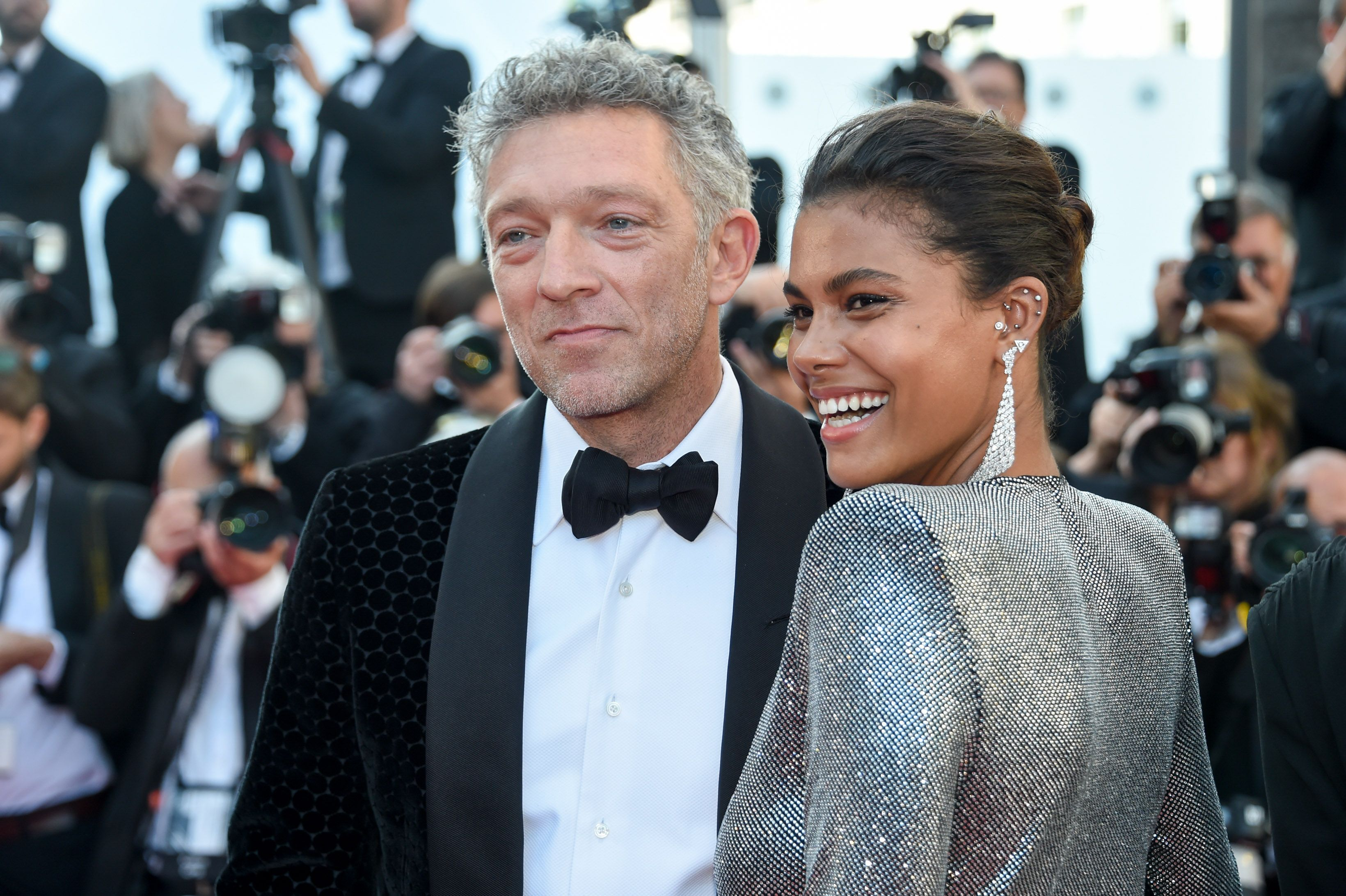 """Vincent Cassel and Tina Kunakey at the screening of """"Girls of The Sun"""" (Les Filles Du Soleil) during the 71st annual Cannes Film Festival at Palais des Festivals on May 12, 2018 