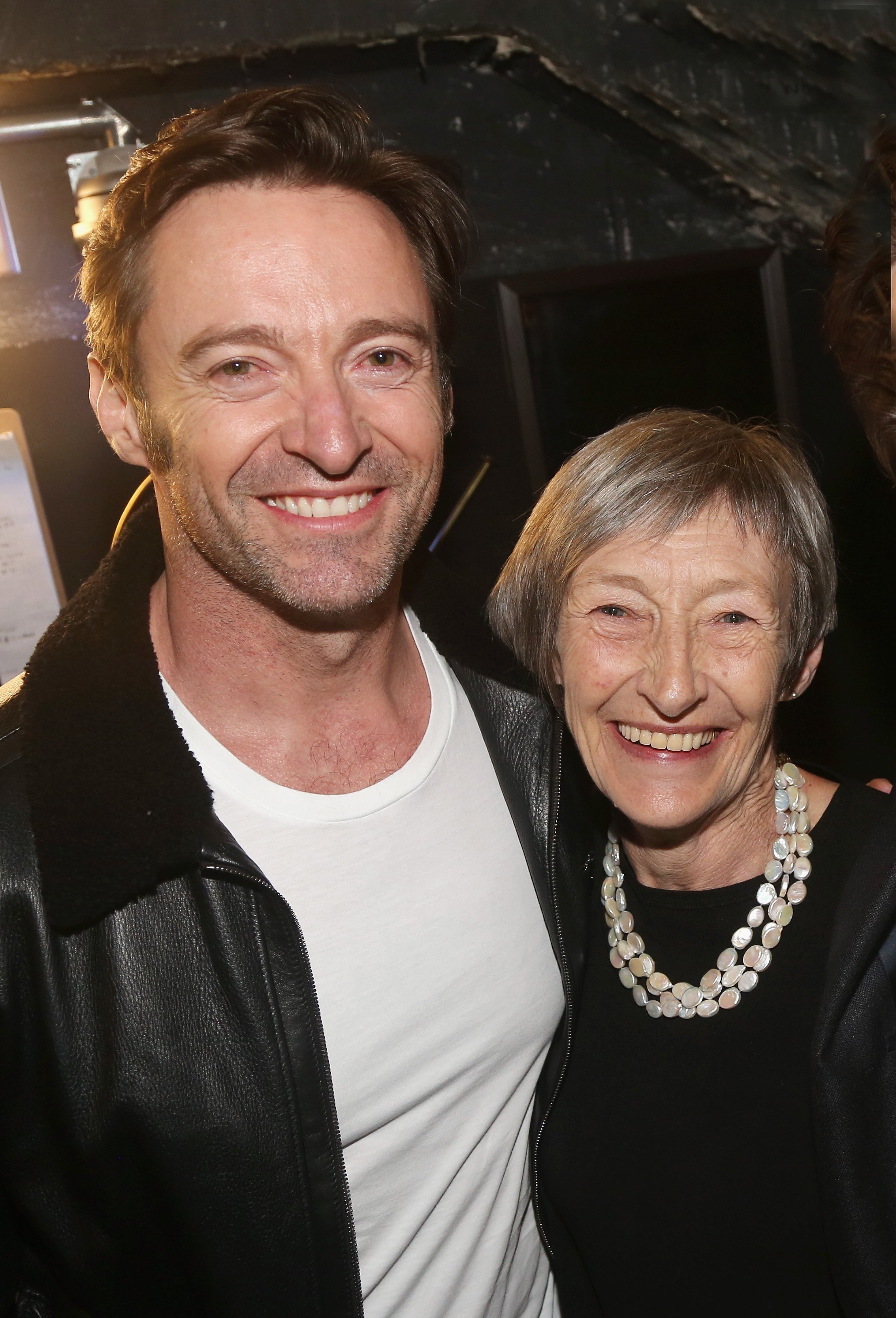 """Hugh Jackman and mother Grace McNeil at the hit musical """"Sunday in The Park with George"""" on Broadway at The Hudson Theatre in New York City 