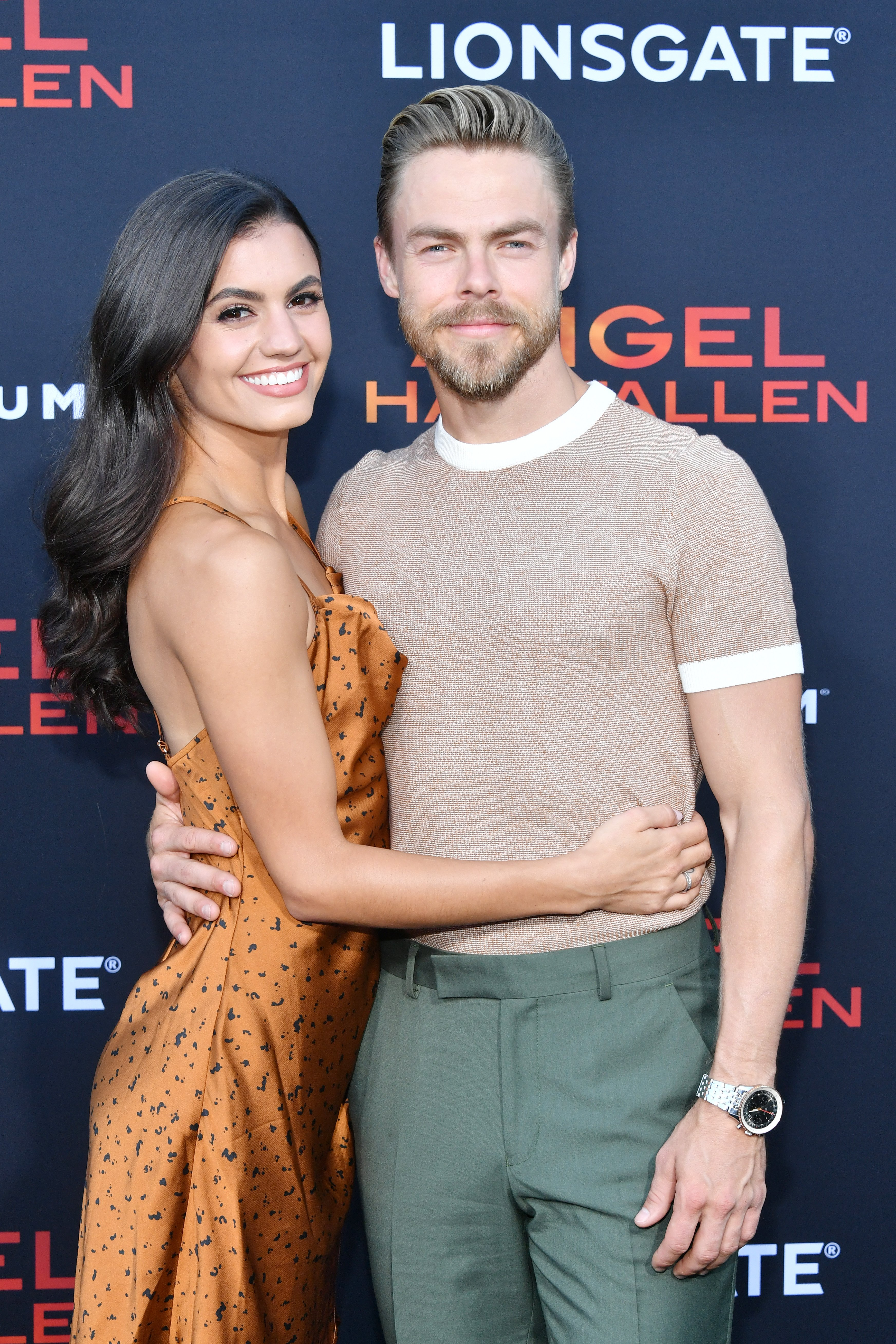 """Derek Hough and Hayley Erbert attend the LA Premiere of Lionsgate's """"Angel Has Fallen"""" on August 20, 2019, in Westwood, California. 