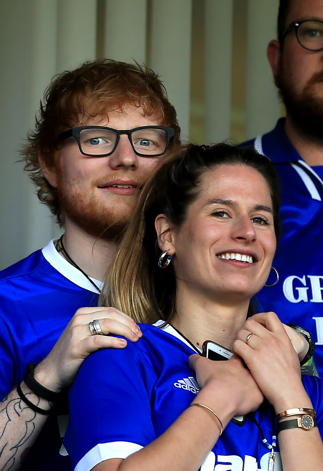Ed Sheeran and wife Cherry Seaborn at the Sky Bet Championship match between Ipswich Town and Aston Villa at Portman Road on April 21, 2018 | Photo: Getty Images