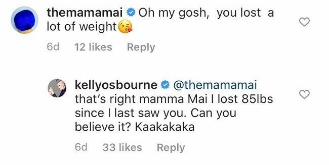 Kelly Osbourne proudly responds to a social media user about her amazing weight loss in August 2020. | Source: Instagram/kellyosbourne.