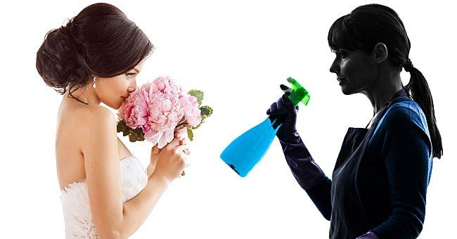 Side-by-side photos of a bride and a woman doing chores. | Source: Shutterstock