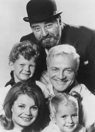 """Family Affair"" cast  Kathy Garver (Cissy), Anissa Jones (Buffy), Johnny Whitaker (Jody), Brian Keith (Bill Davis), and Sebastian Cabot (Mr. French) 