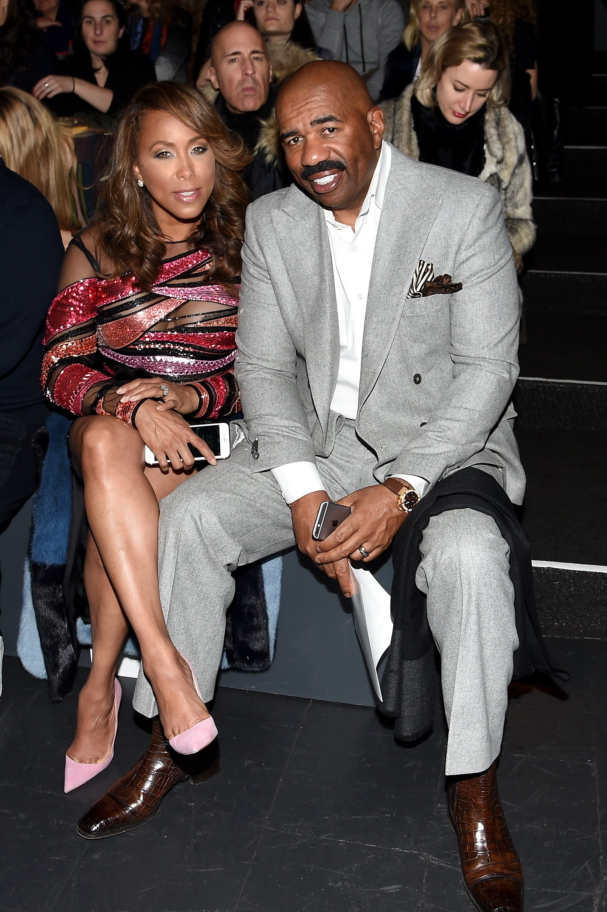 Marjorie Harvey (L) and Steve Harvey attend the Prabal Gurung Fall 2016 fashion show during New York Fashion Week on February 14, 2016. | Source: Getty Images