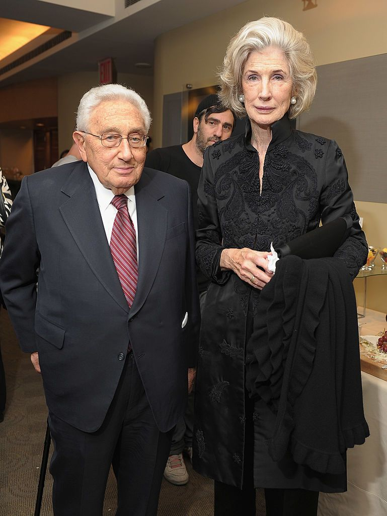 "Henry Kissinger and Nancy Maginnes at the HBO screening of ""Bobby Fischer Against The World"" in 2011 in New York City 