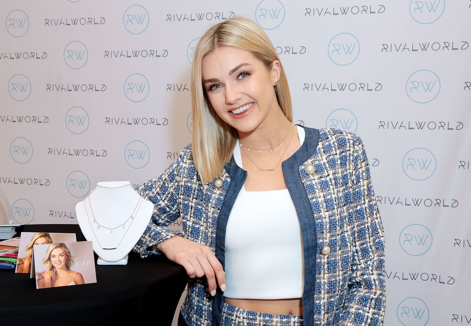 Lindsay Arnold posed with L.A.C. by Lindsay Arnold jewerly at the launch of the RivalWorld Market on February 5, 2019 in Century City, California   Photo: Getty Images