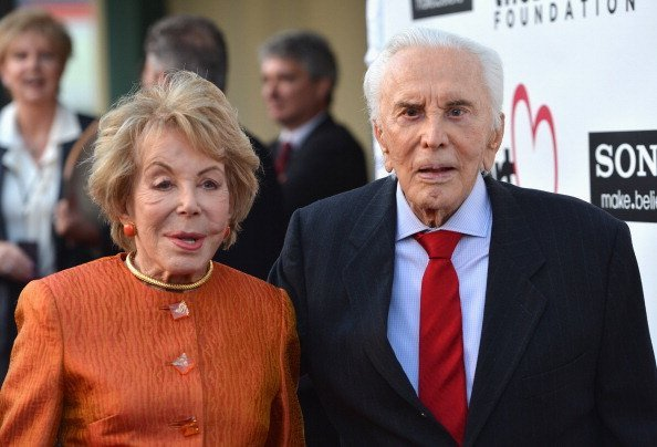 Anne Douglas and actor Kirk Douglas arrive to The Heart Foundation Gala at Hollywood Palladium on May 10, 2012, in Hollywood, California. | Source: Getty Images.