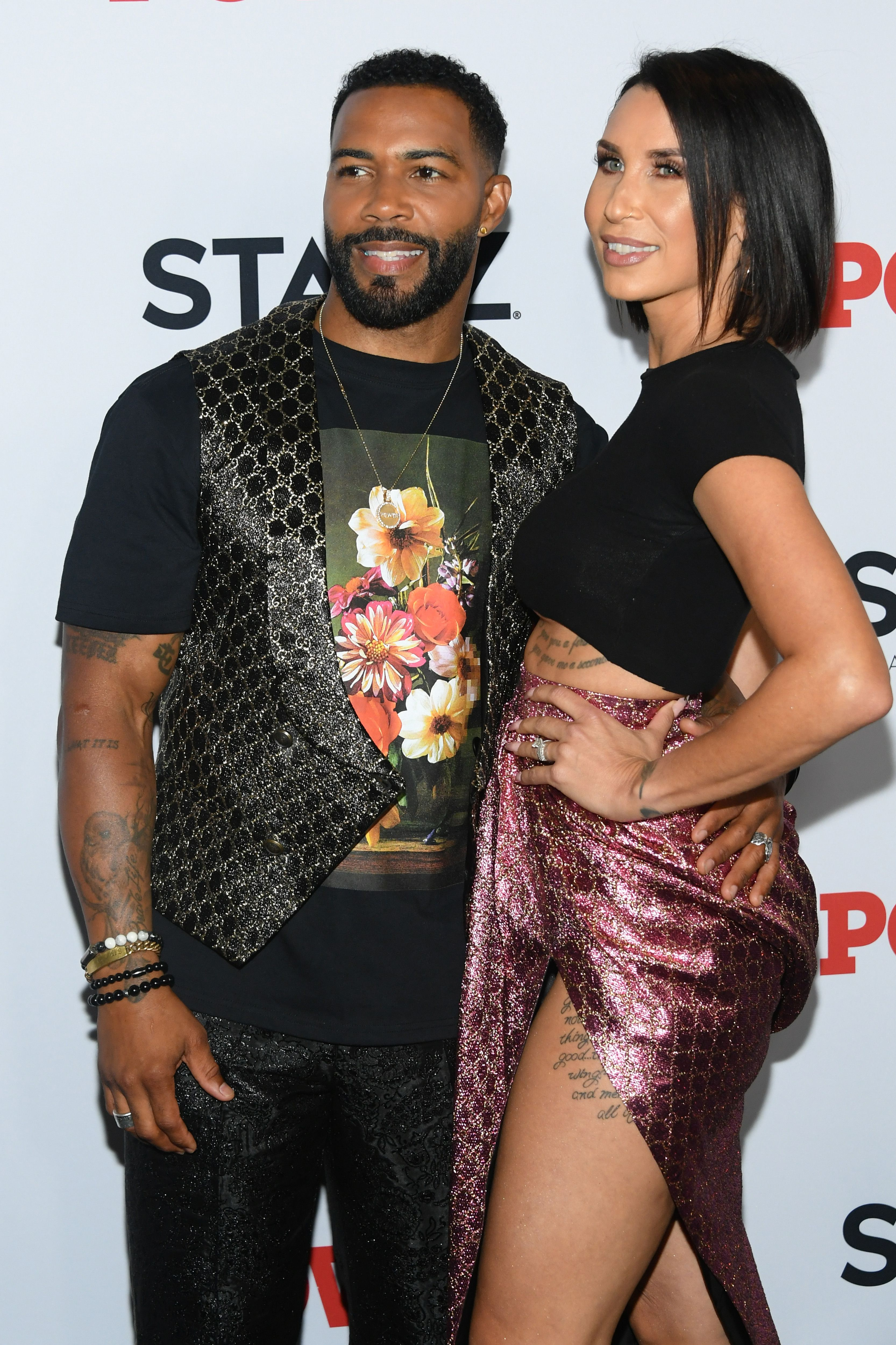 "Omari Hardwick and Jennifer Pfautch at the ""Power"" final season world premiere in August 2019 in New York City 