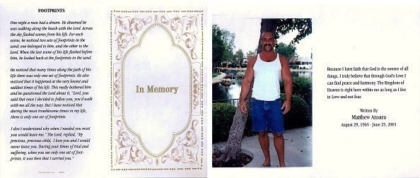 A portrait of Matthew Michael Ansara, the son of actress Barbara Eden, appears on the funeral memorial card from Ansara''s funeral July 2, 2001 in Hollywood, CA. Ansara was found dead on the night of June 25, 2001 slumped over the steering wheel of a parked car in Monrovia, California   Photo: Getty Images